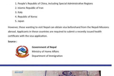 कोरोना संक्रमण नियन्त्रणको पूर्वतयारी : चीनलगायत ५ देशका नागरिकलाई काठमाडौं विमानस्थलमा भिषा नदिइने