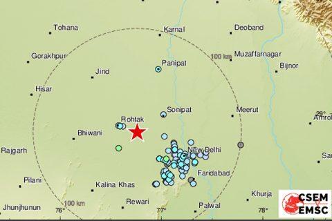 भारतमा भूकम्प, भूकम्पको केन्द्रबिन्दु हरियाणा